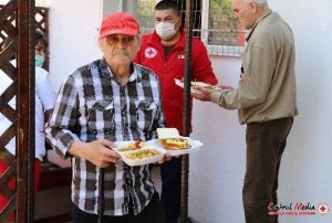 Old man with food