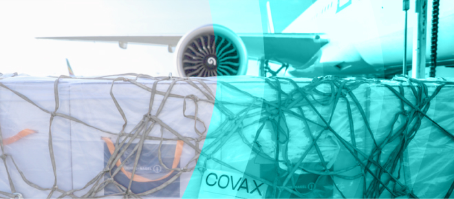 airplane with a covax package